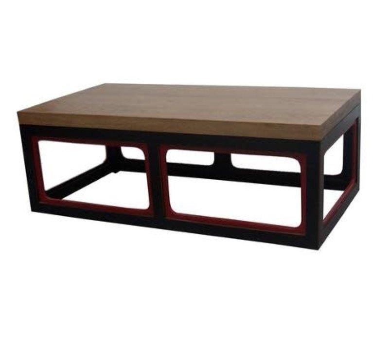Table Basse Chinoise en Bois Noire et Rouge L130xP65xH45cm