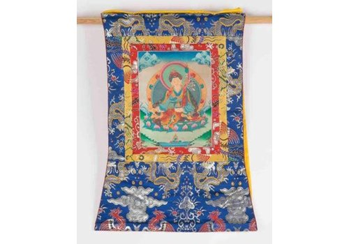 Fine Asianliving Antique Tibetan Thangka Hand-painted and Embroidered