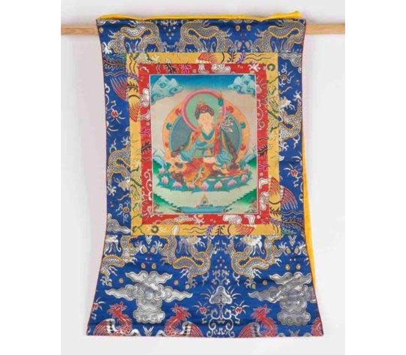 Antieke Tibetaanse Thangka Handgeschilderd en Geborduurd