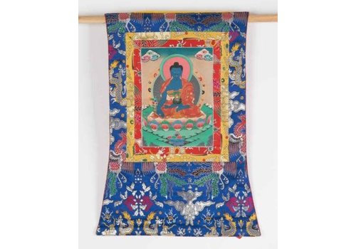 Fine Asianliving Antique Tibetan Thangka Medicine Buddha Hand-painted and Embroidered