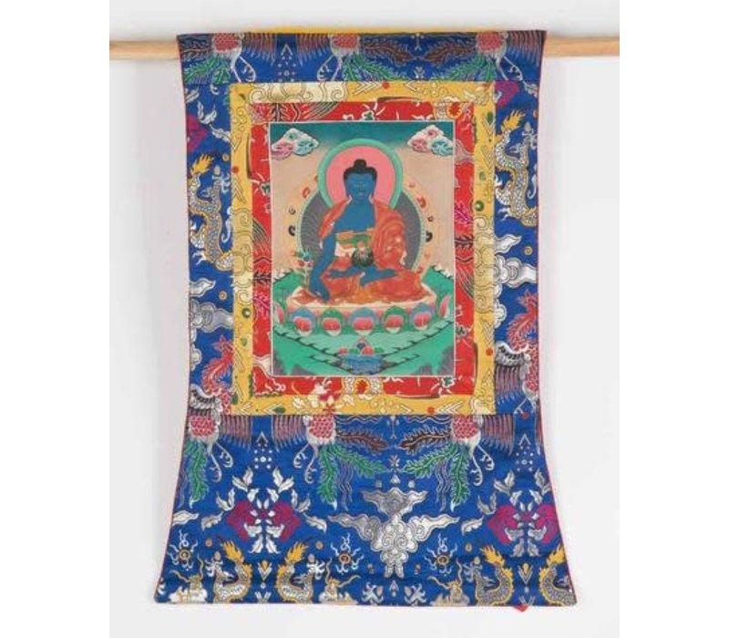 Antieke Tibetaanse Thangka Medicine Buddha Handgeschilderd en Geborduurd