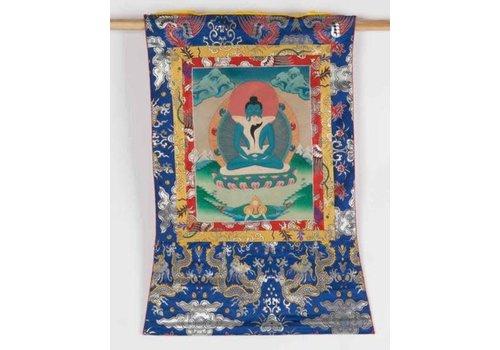 Fine Asianliving Antieke Tibetaanse Thangka Samantabhadra met Consort Handgeschilderd en Geborduurd