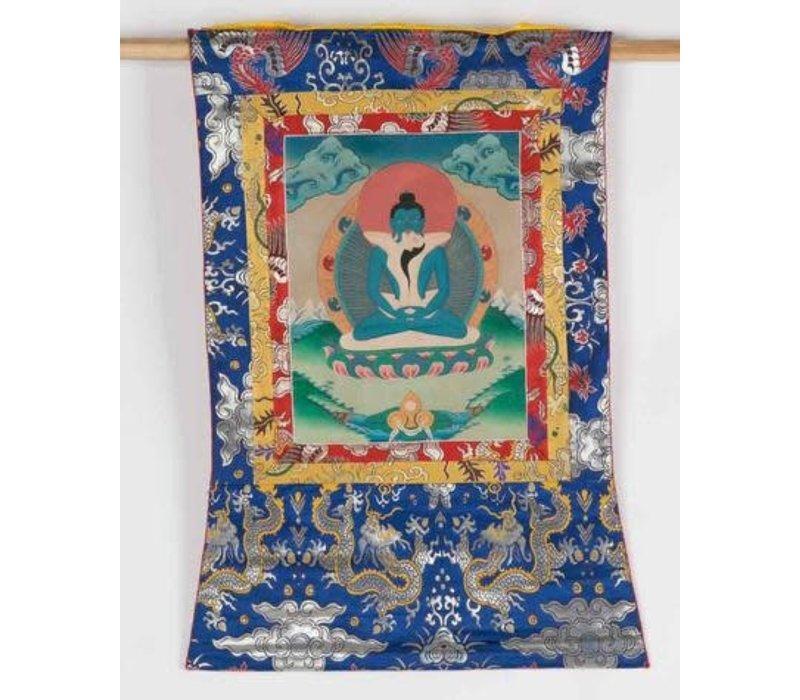 Antieke Tibetaanse Thangka Samantabhadra met Consort Handgeschilderd en Geborduurd