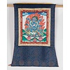 Fine Asianliving Antique Tibetan Thangka Mahakala Hand-painted and Embroidered