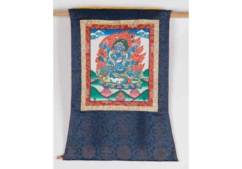 Fine Asianliving Antique Tibetan Thangka Mahakala Hand-painted and Embroidered
