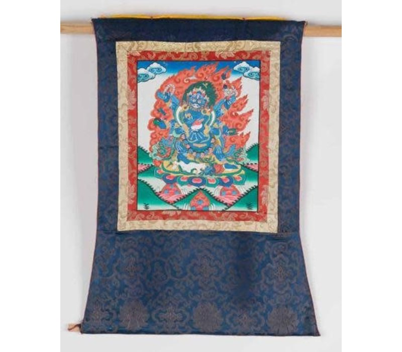Antique Tibetan Thangka Mahakala Hand-painted and Embroidered