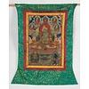 Fine Asianliving Antieke Tibetaanse Thangka Groen Tara Handgeschild en Geborduurd Groot