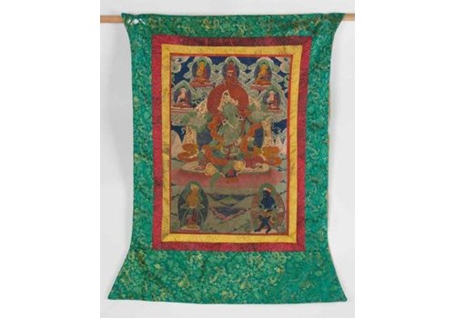 Fine Asianliving Antique Tibetan Thangka Green Tara Hand-painted and Embroidered Large