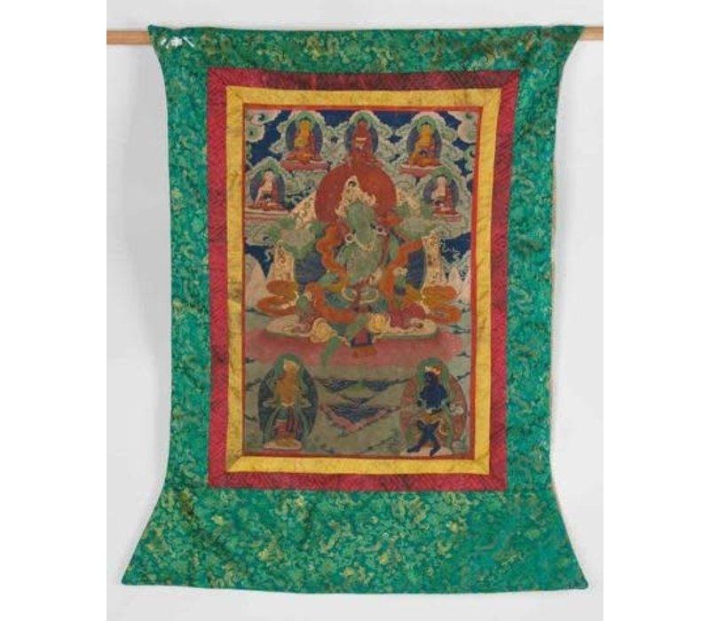 Antieke Tibetaanse Thangka Groen Tara Handgeschild en Geborduurd Groot