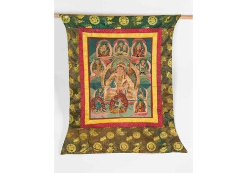 Fine Asianliving Antique Tibetan Thangka Buddha Hand-painted and Embroidered Large