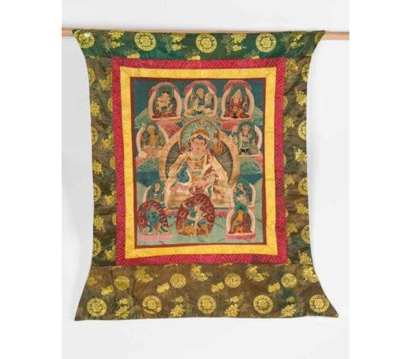 Antieke Tibetaanse Thangka Buddha Handgeschilderd en Geborduurd Groot