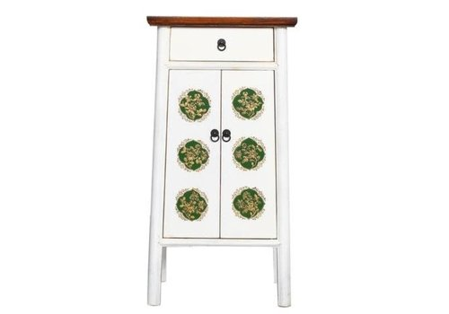 Fine Asianliving Chinese Cabinet Handcrafted White Tibetan Inspired