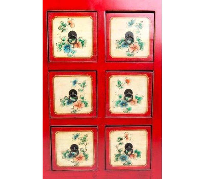 Buffet Chinois Fleurs Peintes à la Main Rouge L80xP45xH157cm