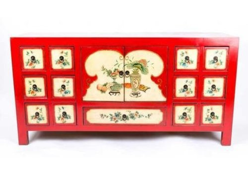 Fine Asianliving Chinese Sideboard  Handpainted Flowers Red W80xD45xH157cm