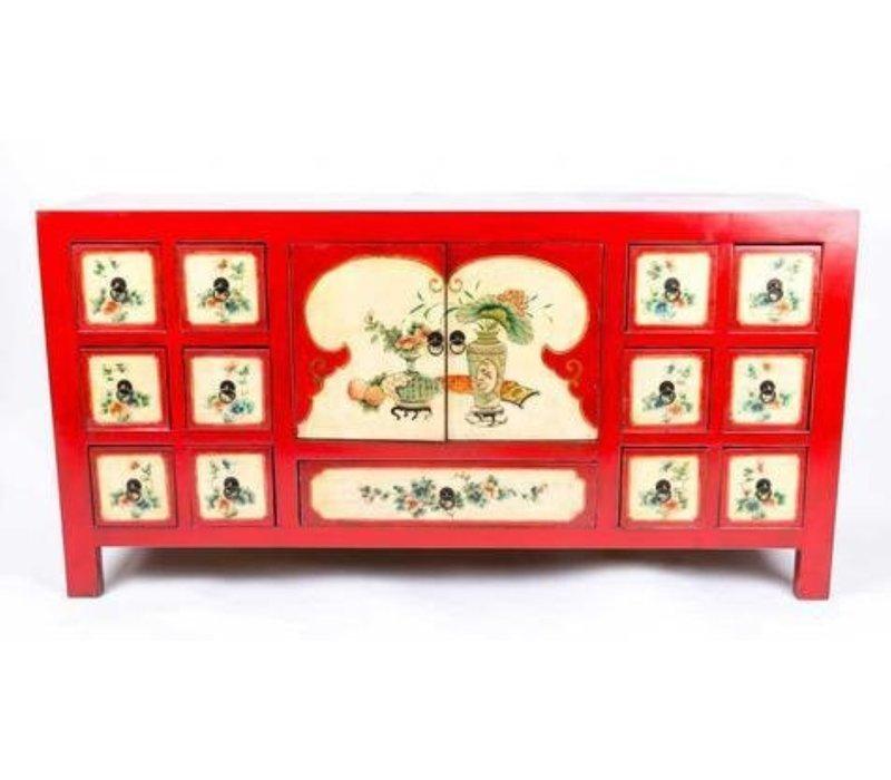 Chinese Dressoir Handgeschilderde Bloemen Rood B80xD45xH157cm