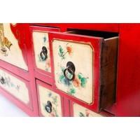 Chinesisches Sideboard Kommode Handbemalte Blumen Rot B80xT45xH157cm