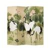 Fine Asianliving Chinees Kamerscherm Oosters Scheidingswand 4 Panelen Kraanvogels Lotus Tuin L160xH180cm