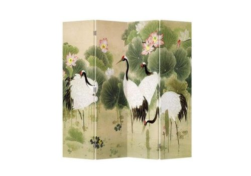 Fine Asianliving Biombo Separador de Lienzo Chino 4 Paneles Grúas Jardín de Lotos Anch.160 x Alt.180 cm