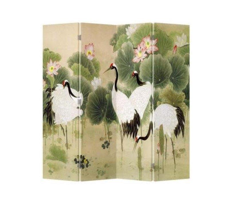 Chinees Kamerscherm Oosters Scheidingswand 4 Panelen Kraanvogels Lotus Tuin L160xH180cm