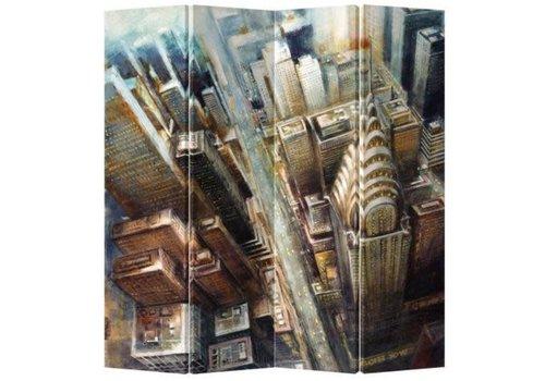 Fine Asianliving Biombo Separador de Lienzo A160xA180cm 4 Paneles Nueva York