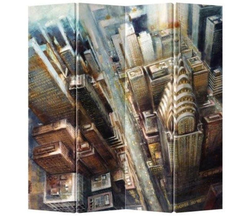 Kamerscherm Scheidingswand 4 Panelen Geschilderd New York L160xH180cm