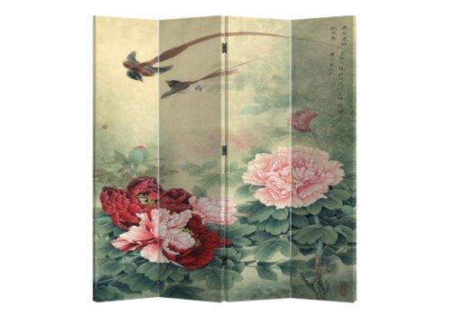 Fine Asianliving Paravent sur Toile 4 panneaux Mudans et oiseaux L160xH180cm