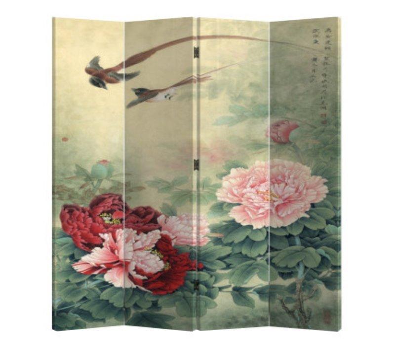 Kamerscherm Scheidingswand 4 Panelen Mudans en Vogels L160xH180cm