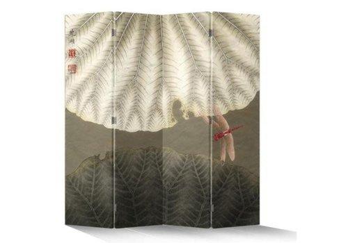 Fine Asianliving Biombo Separador de Lienzo Chino 4 Paneles La Libélula Roja Vintage Anch.160 x Alt.180 cm