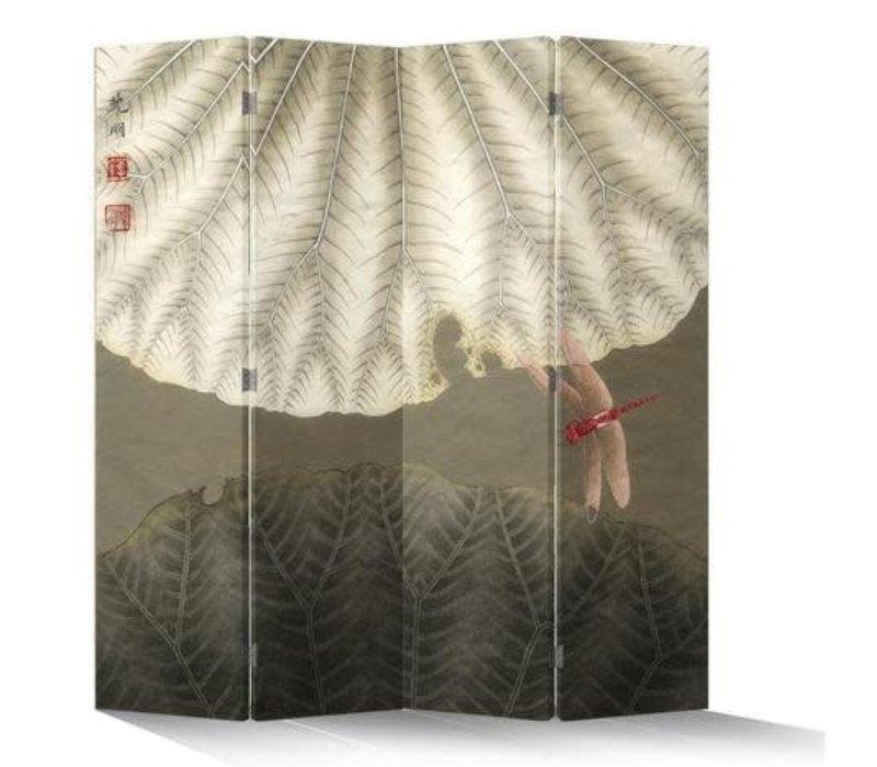 Chinesischer Raumteiler Trennwand B160xH180cm 4-teilig Rote Libelle Vintage