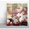 Fine Asianliving Biombo Separador de Lienzo Chino 4 Paneles Flores Rosas Anch.160 x Alt.180 cm