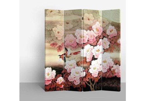 Fine Asianliving Chinesischer Raumteiler Trennwand B160xH180cm 4-teilig Rosa Blumen