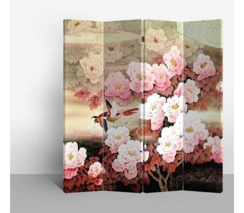 Biombo Separador de Lienzo Chino 4 Paneles Flores Rosas Anch.160 x Alt.180 cm