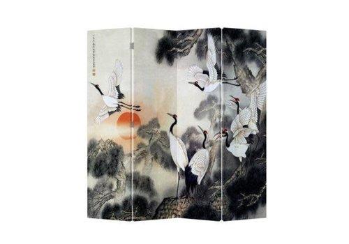 Fine Asianliving Biombo Separador de Lienzo Chino 4 Paneles Grúas al Amanecer Anch.160 x Alt.180 cm