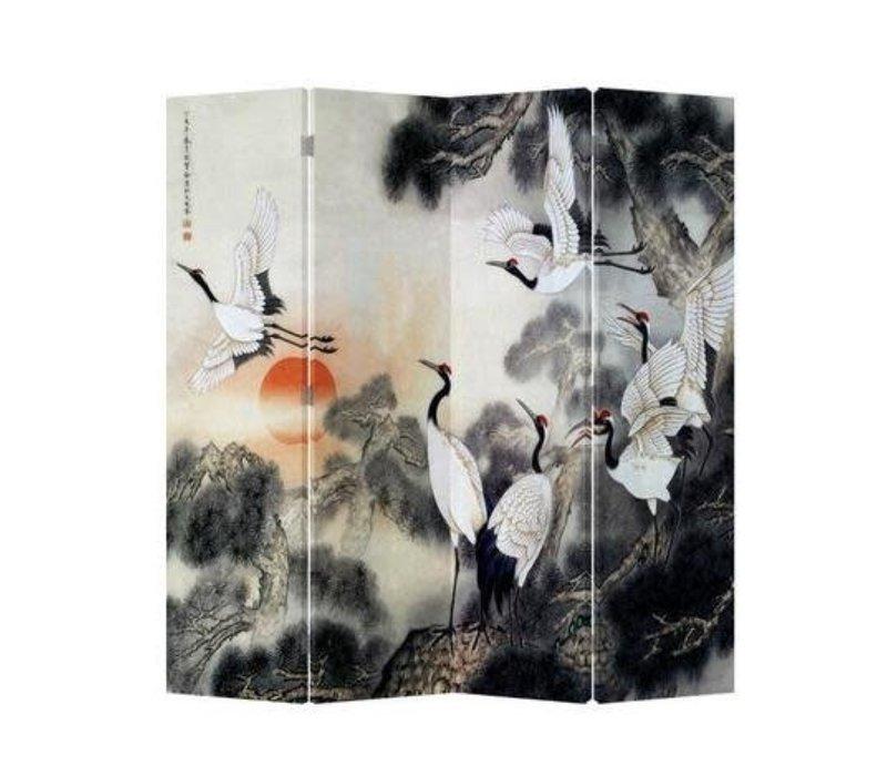 Chinees Kamerscherm Oosters Scheidingswand B160xH180cm 4 Panelen Kraanvogels Zonsopgang