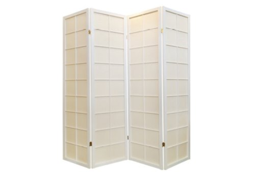 Fine Asianliving Japanische Paravent Raumteiler Trennwand B180xH180cm 4-teilig Shoji Reispapier Weiß