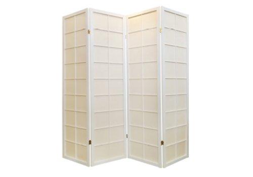 Fine Asianliving Japanischer Paravent Raumteiler Trennwand B180xH180cm 4-teilig Shoji Reispapier Weiß