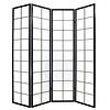 Fine Asianliving Japanischer Paravent Raumteiler Trennwand B180xH180cm 4-teilig Shoji Reispapier Schwarz