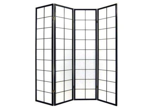 Fine Asianliving Biombo Separador Japonés A180xA180cm 4 Paneles Shoji Papel de Arroz Negro