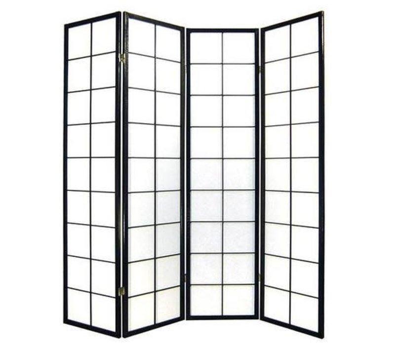 Japans Kamerscherm L180xH180cm Shoji Rijstpapier 4 Panelen Zwart - 180/B4