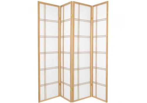 Fine Asianliving Japanese Room Divider 4 Panels W180xH180cm Privacy Screen Shoji Rice-paper Natural - Double Cross