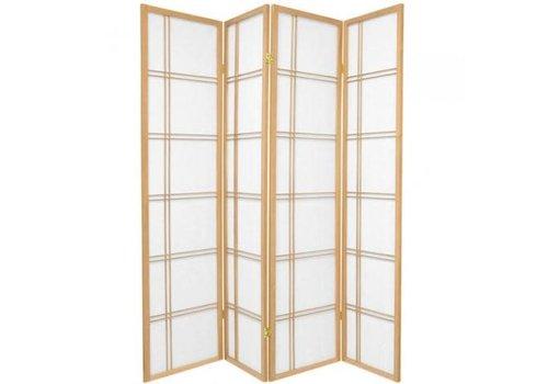 Fine Asianliving Japanse Kamerscherm B180xH180cm 4 Panelen Shoji Rijstpapier Natural - Double Cross