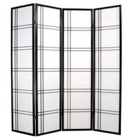 Paravent Japonais L180xH180cm 4 Panneaux Shoji Papier de Riz Noir - Double Cross