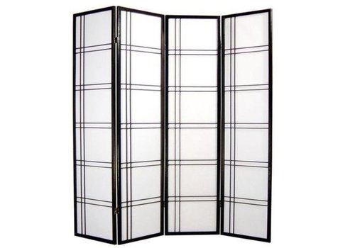 Fine Asianliving Paravent Japonais 4 panneaux L180xH180cm Shoji Papier de Riz - Double Black Cross