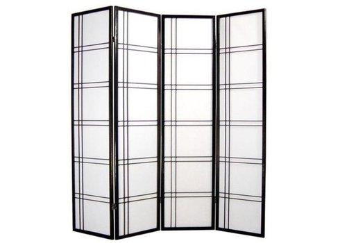 Fine Asianliving Paravent Japonais L180xH180cm 4 Panneaux Shoji Papier de Riz Noir - Double Cross