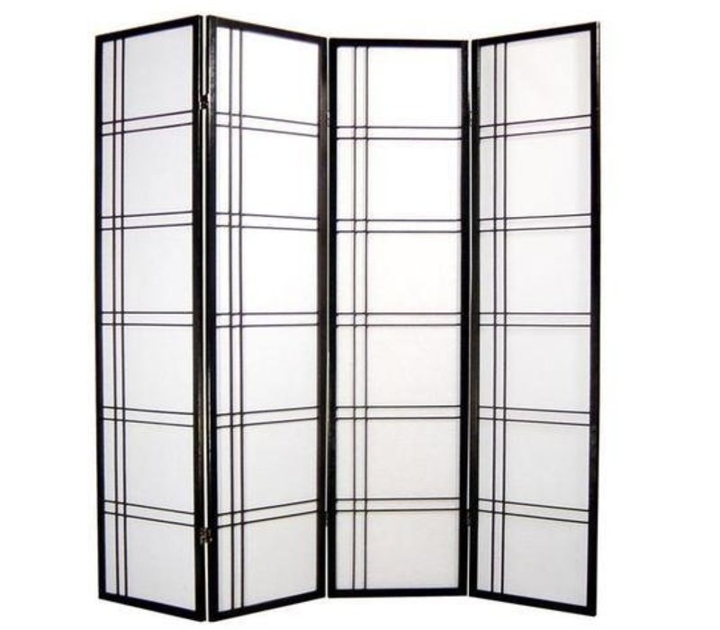 Japanese Room Divider W180xH180cm Privacy Screen Shoji Rice-paper - Double Cross Black