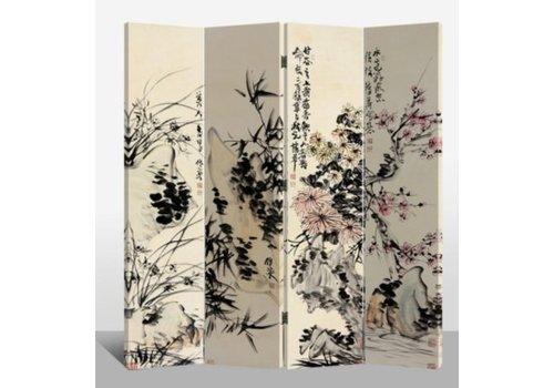 Fine Asianliving Biombo Separador de Lienzo 4 Paneles Jardín de Flores Anch.160 x Alt.180 cm