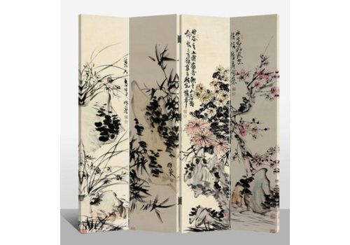 Fine Asianliving Raumteiler Trennwand B160xH180cm 4-teilig Blumen