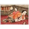 Fine Asianliving Tableau sur Toile Décoration Murale Chinois Encadré Mère avec bébé L45xH33cm