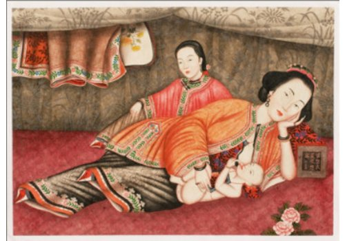 Fine Asianliving Chinese Painting Framed Wall Decor Mother with Baby W45xH33cm