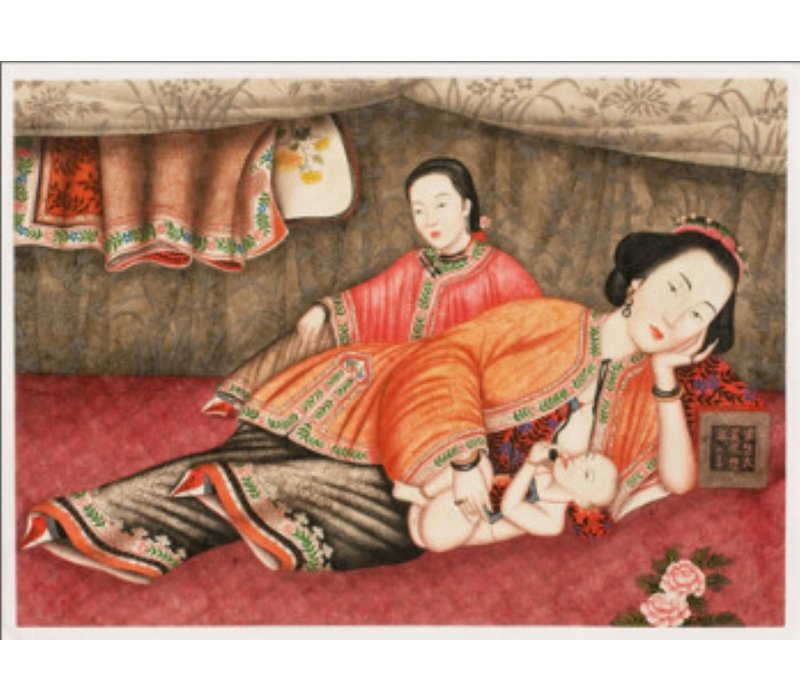 Tableau sur Toile Décoration Murale Chinois Encadré Mère avec bébé L45xH33cm